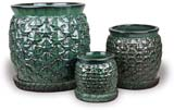 CH1538-1540 Pineapple Belly Pots - Country Green