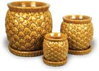 CH1538-1540 Pineapple Belly Pots - Honey