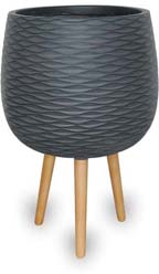 CH1651-1652 Wave Finish Round Pots with Wood Legs