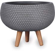 CH1726-1727 Honeycomb Finish Low Round Pot with Wood Legs