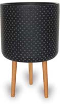 CH1739-1741 Dot Finish Cylinder Pot with Wood Legs