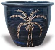 MP108-114 Garden Pot with Coconut Palm Tree Carving