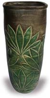 TP377 Square Vase with Leaf Plant Design