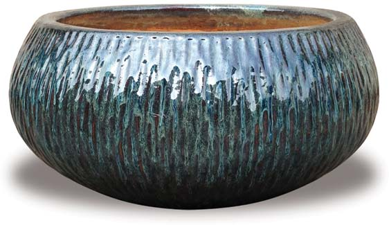 Bullet Pots With Dots Ch1349 1351 Carved Low Bowl Planter