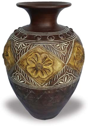 TP376 Wide Vase with Flower Design
