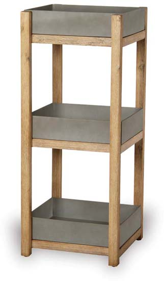 VP1233 Square Sandstone Shelf with Acacia Wood Legs