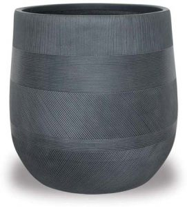Lightweight planter in black with stripes