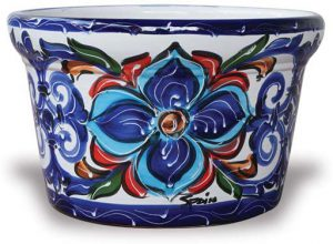 Ceramic planter in colorful Spanish floral design