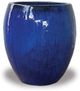 Round glazed planter in cobalt with waffer pattern