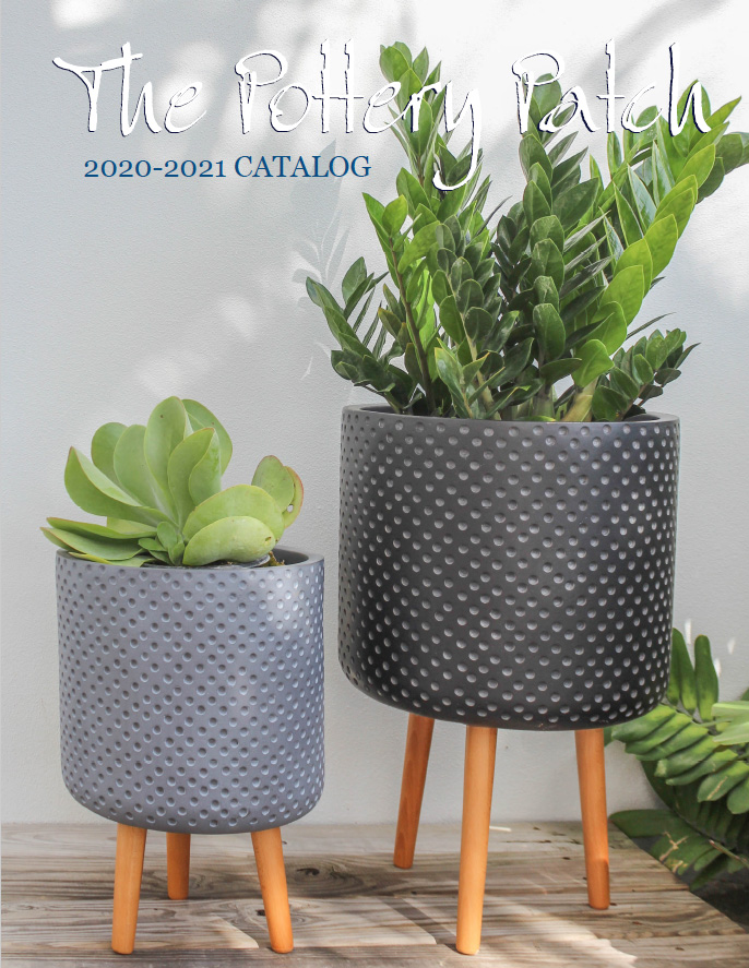 2021 catalog cover 2 lightweight pots with wooden legs