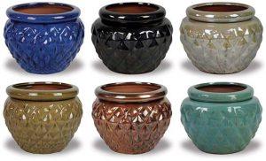 small diamond pattern match pots