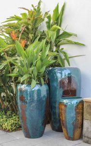 bold color glazed planter