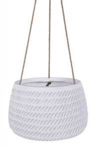 White Hanging Pot with Rope Pattern